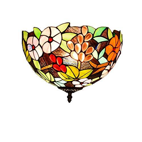 Lámpara de techo de estilo tiffany 30CM ventanal de cristal del restaurante del dormitorio pasillo vidrieras techo del pasillo de Tiffany Lámpara de la vendimia de uva europea Flor Baño luz de techo