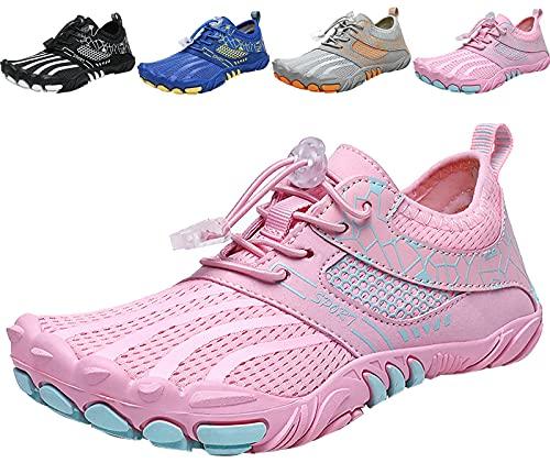 MARITONY Kinder Barfussschuhe Mädchen Barfußschuhe Kinderschuhe Jungen Atmungsaktiv rutschfest Traillaufschuhe Wanderschuhe Leicht Weich Fitnessschuhe (Pink,28EU)