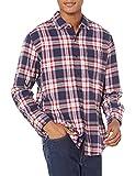 Amazon Essentials - Camicia da uomo, a maniche lunghe, vestibilità standard, a quadri, in flanella, Rosso (Red/White/Blue Plaid), US S (EU S)