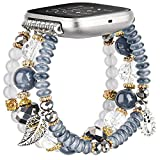CAGOS Bracelet Compatible with Fitbit Versa 2 Bands/Fitbit Versa Bands/Versa Lite Bands, Handmade Beaded Elastic Replacement Bands Straps for Fitbit Versa 2 Special Edition SmartWatch (Gray)