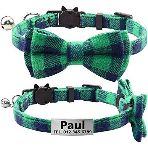 TagME Collar de Gato Personalizado con Pajarita & Campana, Placa de Identificación de Acero Inoxidable Grabada con Nombre & Número de Teléfono,Verde