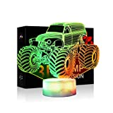 Monster Trucks Decor Night Lights for Kids 7 Colors Changing Car Night Lamp with Smart Touch Car Gifts for Boys Girls Age 2 3 4 5 6 7+ Year Old Xmas Gifts