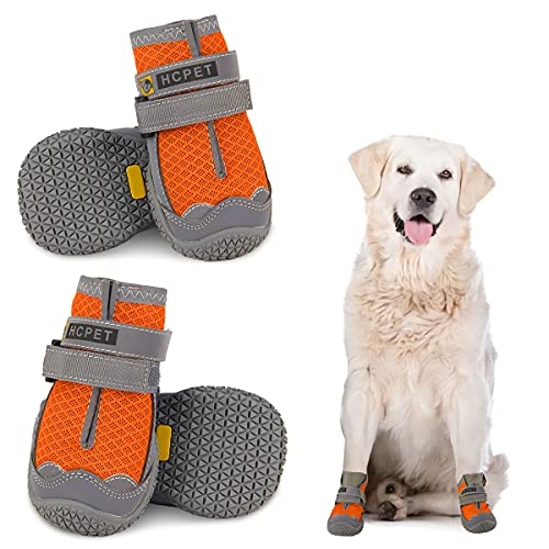 Dog Shoes for Hot Pavement, Mesh Dog Boots with Rugged Anti-Slip Sole, Summer Dog Booties Breathable Durable with Adjustable & Reflective Straps for Small Medium Large Dogs Hiking Jogging Backpacking