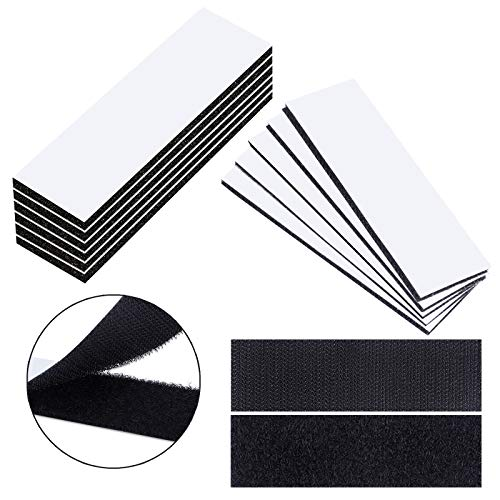 WXBOOM 20pcs Heavy Duty Hook and Loop Tape Strips with Adhesive Sticky Back, Double-Sided Industrial Strength Fasten Interlocking for Home Office
