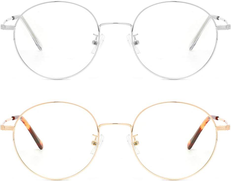 Cyxus Gafas Anti-luz Azul - Marco de Metal Gafas para Ordenador, Anti Tensión de Ojos, Lentes Transparentes Unisexo para Hombres y Mujeres (Pack de 2 Dorados Y Plateados)