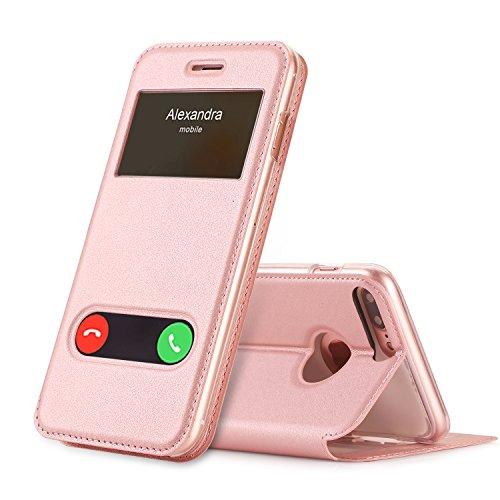 FYY Cover iPhone 8 Plus,Cover iPhone 7 Plus,iPhone 7 Plus Cover, Flip Custodia Classica Magnetica con la Funzione Finestrina-Vista per iPhone 7 Plus/iPhone 8 Plus -Rosa Oro
