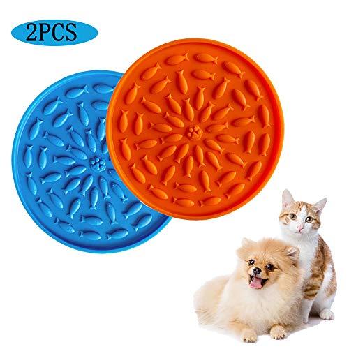 Asocea - 2 alfombrillas de alimentación lenta para perros y gatos, con succiones a la pared, color naranja y azul