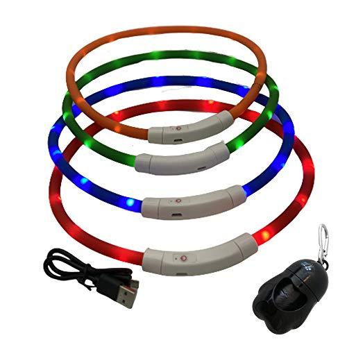 Collar Perro LED Eléctrico y Caja de Bolsas Desperdicio. Collar de Seguridad Recargable Luminoso para Perros, Accesorios para Mascotas. Kottao. (Verde)