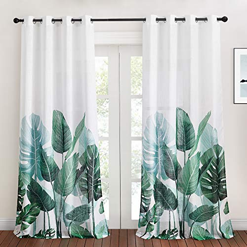 KGORGE Linen Semi Sheer Curtains - Tropical Leaves Window Curtains for Bedroom Natural Foliage Pattern on White Sheer Backdrops for Dining Room Bathroom Sliding Door, W 50 x L 95 inch, 2 Pcs