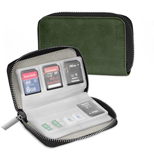 MoKo Speicherkarten Tasche - PU Leder SD Case Aufbewahrung Tragetasche Box Etui, 22 Speicherkarten(8 Seiten)für SD CF SDHC SDXC MMC TF Nintendo Switch Spiele, Dunkel Grün
