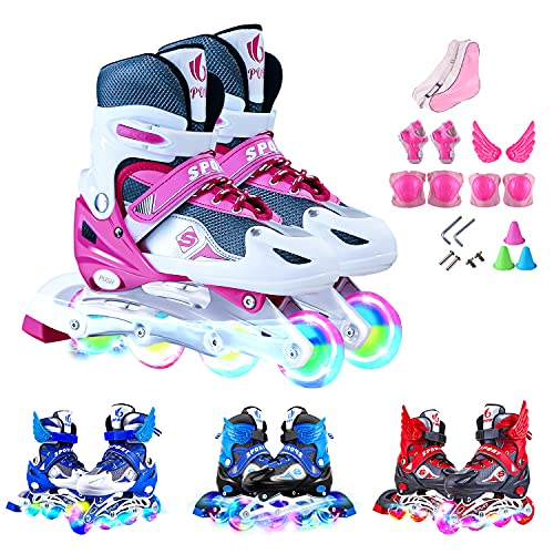 Patines en Línea para Niños con Ruedas Iluminadas Inline Skates Tamaño Ajustables Rollerblade de Malla Transpirable para Infantiles y Adolescentes