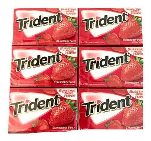 Trident Strawberry Twist Gum | Trident Sugarfree Gum | Pack of 6 | 14 Sticks Per Pack