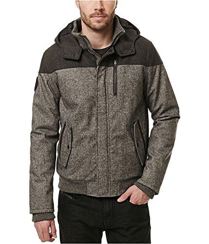 Buffalo David Bitton Herren Jacke mit Kapuze aus Jutanel, Wolle - grau - Mittel