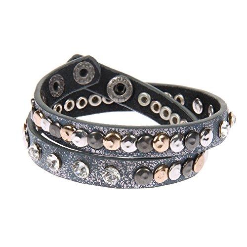 Kossberg Damen Leder Armband Nieten Strass Metallic (Blau/Grau Metallic)