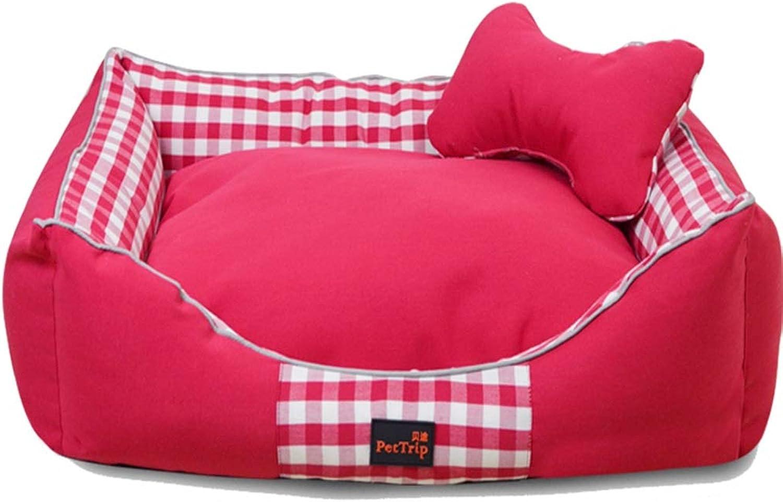 JHD Kennels Pet Mat, Large Dog Kennel Cat House Removable And Washable Pet Nest Wearresistant Bite Pet Bed (color   PINK, Size   65×50×18CM)