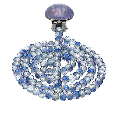 Langani Damen-Ohrclips galvanisiertes Metall Glasbouton Glasschliffperlen 4,5 cm 10986 90