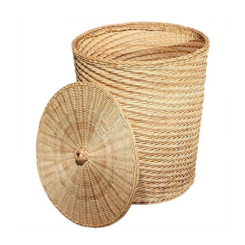 JCXOZ Round Handwoven Towel Basket Dirty Clothes Barrel Wicker Laundry Basket with Lid Storage Hamper for Bedroom Bathroom Laundry Bin, Primary Color