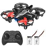 Helîkoptera U`King Mini Drone ya ji bo Zarokan û Destpêkê, RC Drone Quadrocopter bi Kişandina Astengkirî, Mode Bêkêş, Yek-Key-Vegerîn, Best 3D-Flip Toy Drone bi Baterîyên 2, Reş