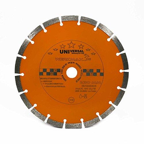 Disco de corte de diamante de 230 mm de diámetro para hormigón, ladrillo, adoquines, mampostería, orificio de 22,2 mm para amoladora angular | Unimax-230-22