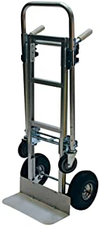 Milwaukee 1000 Lb. Capacity Convertible Modular Aluminum Hand Truck with Twin Pin Handle and 10 Inch Pneumatic Tires. Converts From 2 Wheel Hand Truck to 4 Wheel Platform Cart. Sturdy and Durable Dolly.