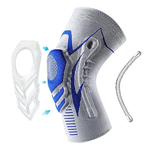 Pokepie Rodillera para deporte, protección deportiva, rodillera para hombres y mujeres, artritis, con anillo de silicona para fitness