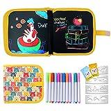 Ulikey Tabla de Dibujo Portátil para Niños, Tablero de Dibujo de Graffiti, Libros Blandos de Pizarra Reutilizable Borrable con 12 Plumas de Colores 14 Página (Bear)