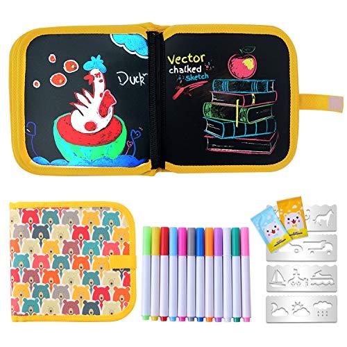 Ulikey Tabla de Dibujo Portátil para Niños, Tablero de Dibujo de Graffiti, Libros Blandos de Pizarra Reutilizable Borrable con 12 Plumas de Colores 14 Página (Oso)