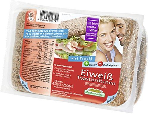 Mestemacher Białe bułki tostowe, 6 sztuk w opakowaniu (8 kromek/260 g)