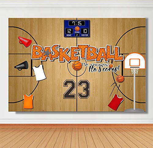 Cartoon Basketball Court Theme Photography Backdrops Sports Club Kids Birthday Party Decoration Photo NBA 23 Number Basketball Net Background Studio Props Baby Shower Banner Vinyl 7x5ft