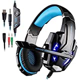 AFUNTA KOTION Each Gaming Headset G9000 para Playstation 4 Tablet PC iPhone 6 / 6s / 6 más / 5s / 5c / 5 Mobilephones, Auriculares de 3.5mm con Micrófono Luz LED Negro + Azul