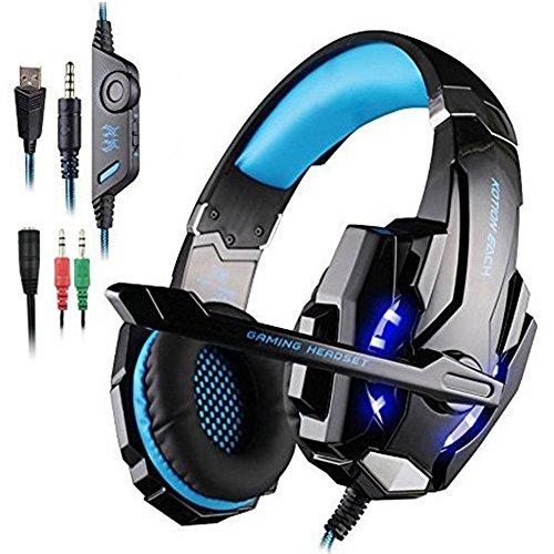Gaming Headset PS4 AFUNTA KOTION EACH G9000 Gaming Headset Musick Kopfhörer Ohrhörer f¨¹r PlayStation 4 6 / 6S / 6 plus / 5s / 5c / 5 , 3,5 mm Kopfhörer auf Ohr-Surround-Sound mit Mikrofon und LED-Licht für PS4 PC Laptop Tablette Mobiltelefone - Schwarz/Blau