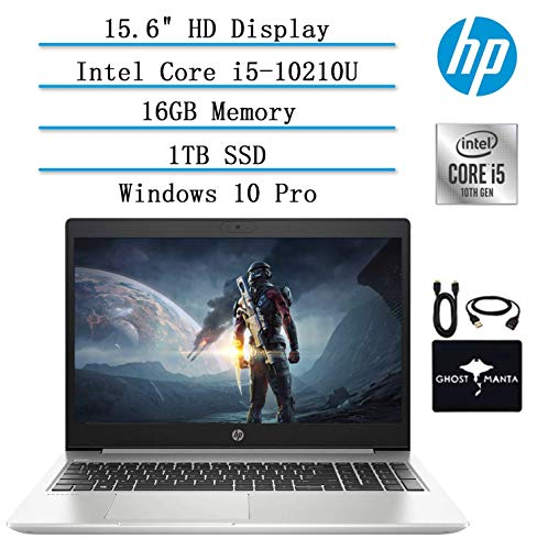 2020 HP ProBook 15.6' HD Laptop for Business and Student, 10th Gen Intel Quad Core i5-10210U (Beat i7-8665U), 16GB Memory, 1TB SSD, Backlit-KB, WiFi, USB-C, HDMI, Win10 Pro, w/ GM Accessories