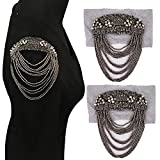 EMDOMO 2pc Beaded Motifs Patches Exaggerated Wild Suit Jacket Stage Performance Epaulettes Beading Tassel Shoulder DIY Craft TH1710