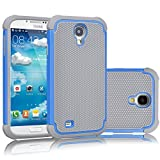 Tekcoo for Galaxy S4 Case, [Tmajor Series] [Blue/Grey] Shock Absorbing Hybrid Rubber Plastic Impact Defender Rugged Slim Hard Case Cover Shell for Samsung Galaxy S4 S IV I9500 GS4 All Carriers