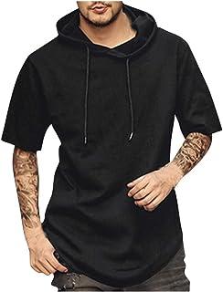 SANFASHION Men Hoodie Short Sleeve Sweatshirt Top Solid Color Drawstring Hooded Top Comfy Soft Slim Fit Casual Lightweight...