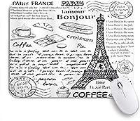 ZOMOY マウスパッド 個性的 おしゃれ 柔軟 かわいい ゴム製裏面 ゲーミングマウスパッド PC ノートパソコン オフィス用 デスクマット 滑り止め 耐久性が良い おもしろいパターン (パリの伝統的な有名なパリの要素ボンジュールクロワッサンコーヒーエッフェル塔印刷)