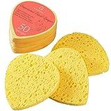 GAINWELL Esponjas Faciales Comprimidas de Celulosa Natural 50 Unidades, Borde Arqueado para Limpieza Profunda de Nariz y Ojos