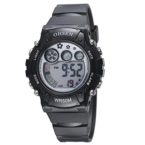 OHSEN Kinder Digital LED Anzeige Wasserdicht Chronograph Armbanduhr/Stoppuhr mit Kautschukband OHSEN01 - Schwarz