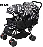 Soft Twin Stroller Comfy Shockproof Baby Pram (White Dotted Black)