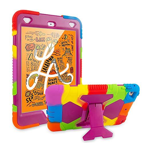 iPad Mini 5 Case 2019 iPad Mini 4 Case Kids Rainbow Series, Import Soft Silicone Rubber Shockproof Anti-Scratch Rugged Durable Protective Cover (Rainbow Purple)