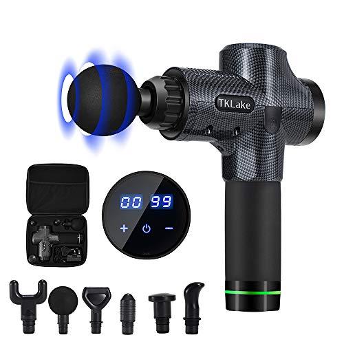 TKLake Pistolet de massage portable pour soulager l'exercice, indicateur LED à écran tactile, 30 vitesses en option avec 5 têtes pour soulager la tension musculaire