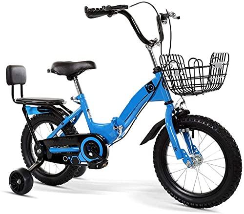 Bicicleta plegable para niños de 12 a 20 pulgadas para niños de 3 a 12 años/con cesta auxiliar rueda/marco tripulado (5 colores)-azul_53.4cm/21in