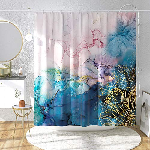 DESIHOM Art Abstract Shower Curtain Watercolor Shower Curtain Modern Ombre Ink Shower Curtain Polyester Waterproof Shower Curtain 72x72 Inch