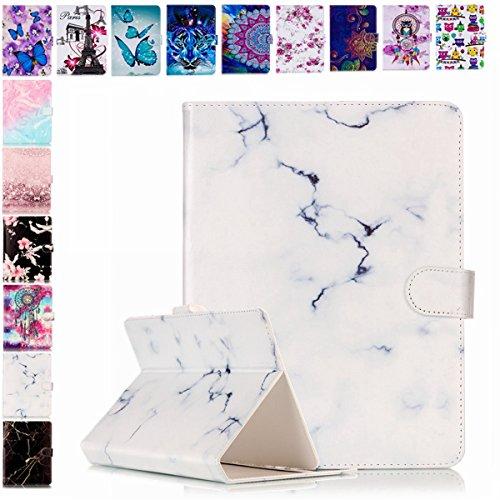 E-Mandala Universal 7 Zoll Hülle Etui Flip Hülle Leder Wallet Cover Tablet PC Tasche mit Kartenfach Klapphülle Ledertasche Lederhülle - Weiß