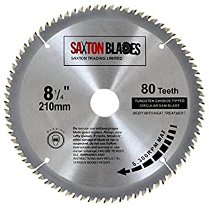 Hoja para sierra circular Saxton TCT 210 x 30 mm, 80 dientes para Festool, Dewalt Bosch, Makita, etc.