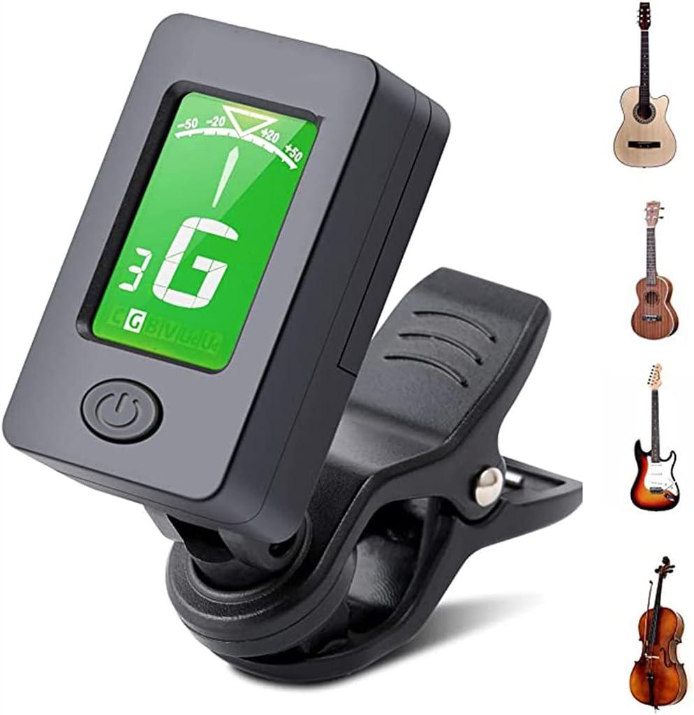 LVLUOKJ Afinador de Guitarra,Afinador Digital Española con Clip,Sintonizador 360°Rotación LCD para Guitarra Bajo Violín Ukulele,Incluidas Otros Instrumentos de Cuerda,con Pilas,Apagado Automático
