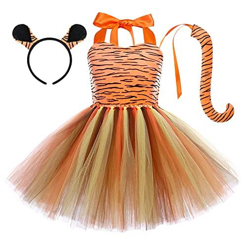Niña Animal Disfraz de Tigre de Halloween Cosplay Princesa Vestido Tutú de Cuello Halter con Cola de Diadema Trajes de Fiesta de Temática de Jungla Cumpleaños de Carnaval Navidad Tigresa 5-6 Años