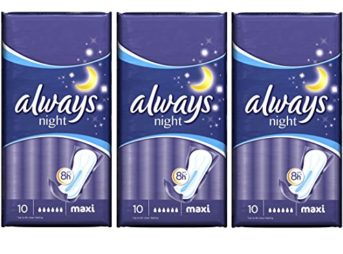 Always Always Always Maxi Comfort & Protection 10 Sanitary Pads Night (Pack of 3) by Always