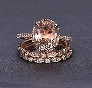 2.25 Carat Oval cut Morganite and Diamond Trio Wedding Ring Set On Rose Gold with Engagement Ring and Two Wedding Bands