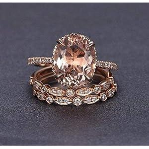 2.25 Carat Oval cut Morganite, Diamond Trio Engagement and Wedding Ring Set, Rose Gold